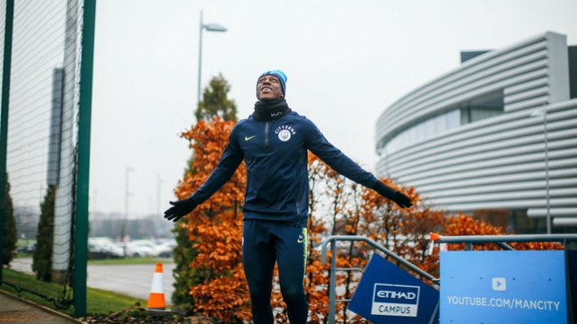 ON THE MEND-Y : Benjamin Mendy seems pleased to be back on the pitch again