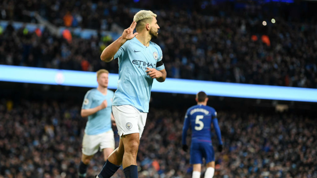 1,2,3 : Sergio Aguero completes his hat-trick v Chelsea