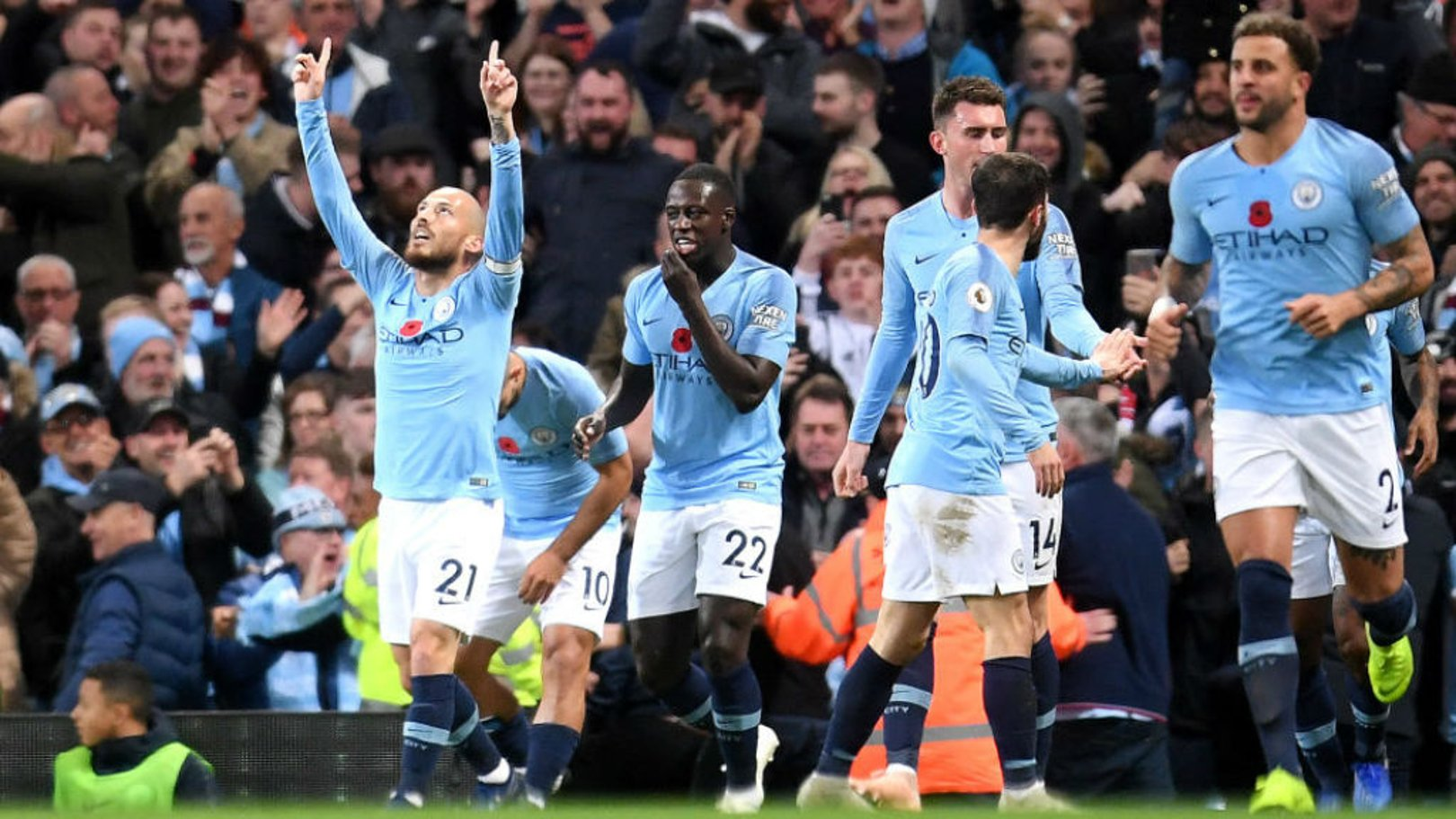 BLUE HEAVEN: David Silva celebrates after opening the scoring for City