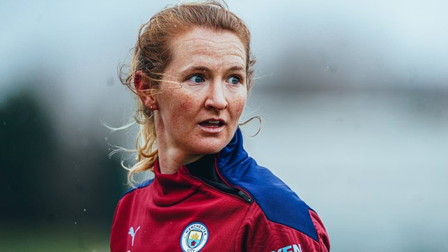 CLASH OF THE TITANS : Sam Mewis says her first experience of a Manchester Derby in November taught her the true meaning of the encounter