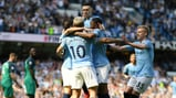RISE AND SHINE: Phil Foden celebrates his goal with his City team-mates