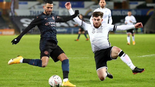 WING WIZARD: Riyad Mahrez whips a ball into the box