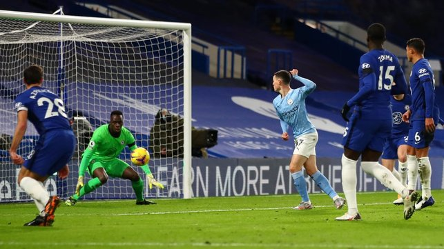 FOX IN THE BOX: Phil Foden finds a yard to add a second
