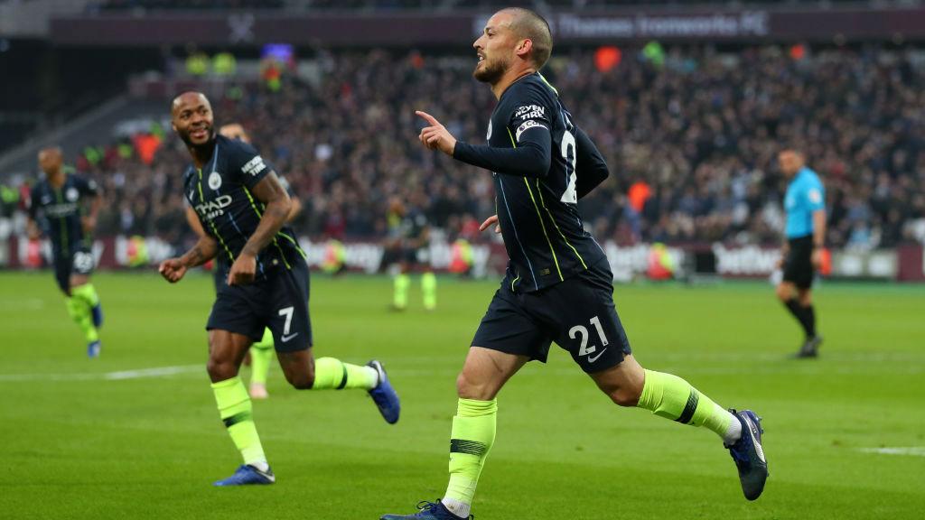SILVA STREAK : David Silva celebrates after scoring his fourth goal in as many games