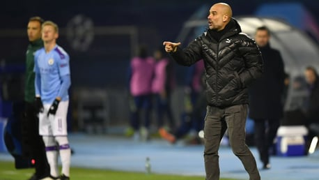 THE BOSS: Pep Guardiola delivers instructions from the touch line.