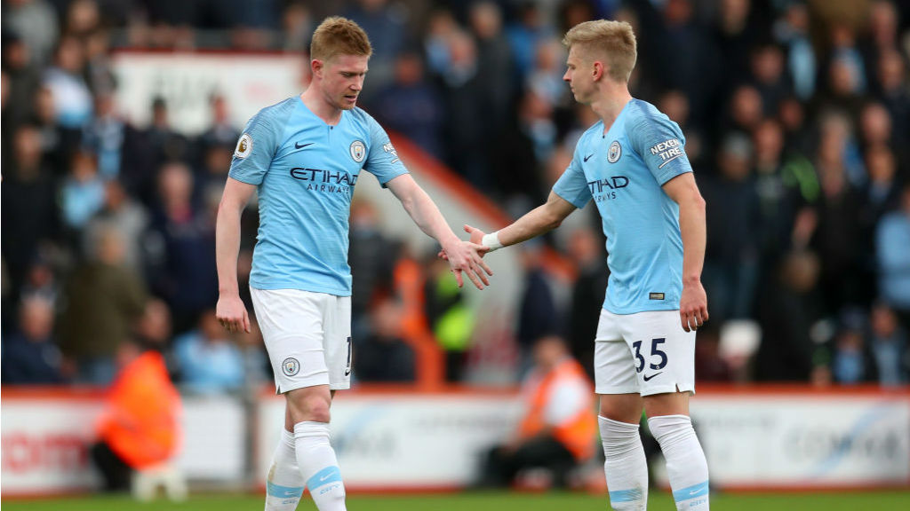 WORRY : There was a blow for City when Kevin De Bruyne was forced off with what looked like a hamstring problem on the stroke of half-time_