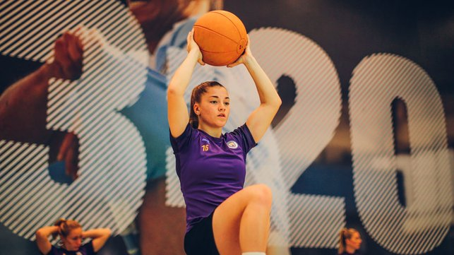 HAVING A BALL : Jess Park works on her core strength