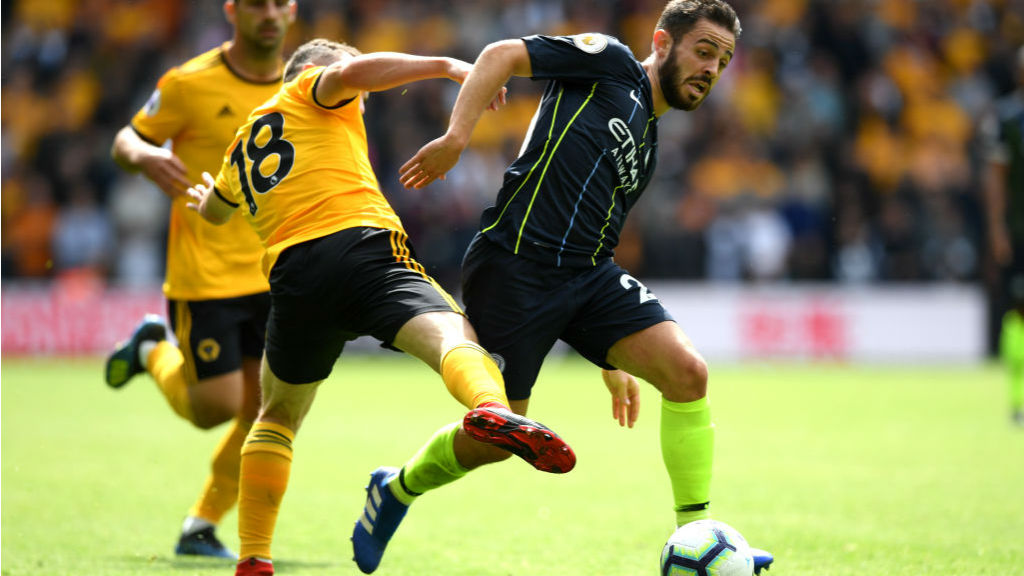 ROUGH JUSTICE : Bernardo Silva is brought down just outside the box