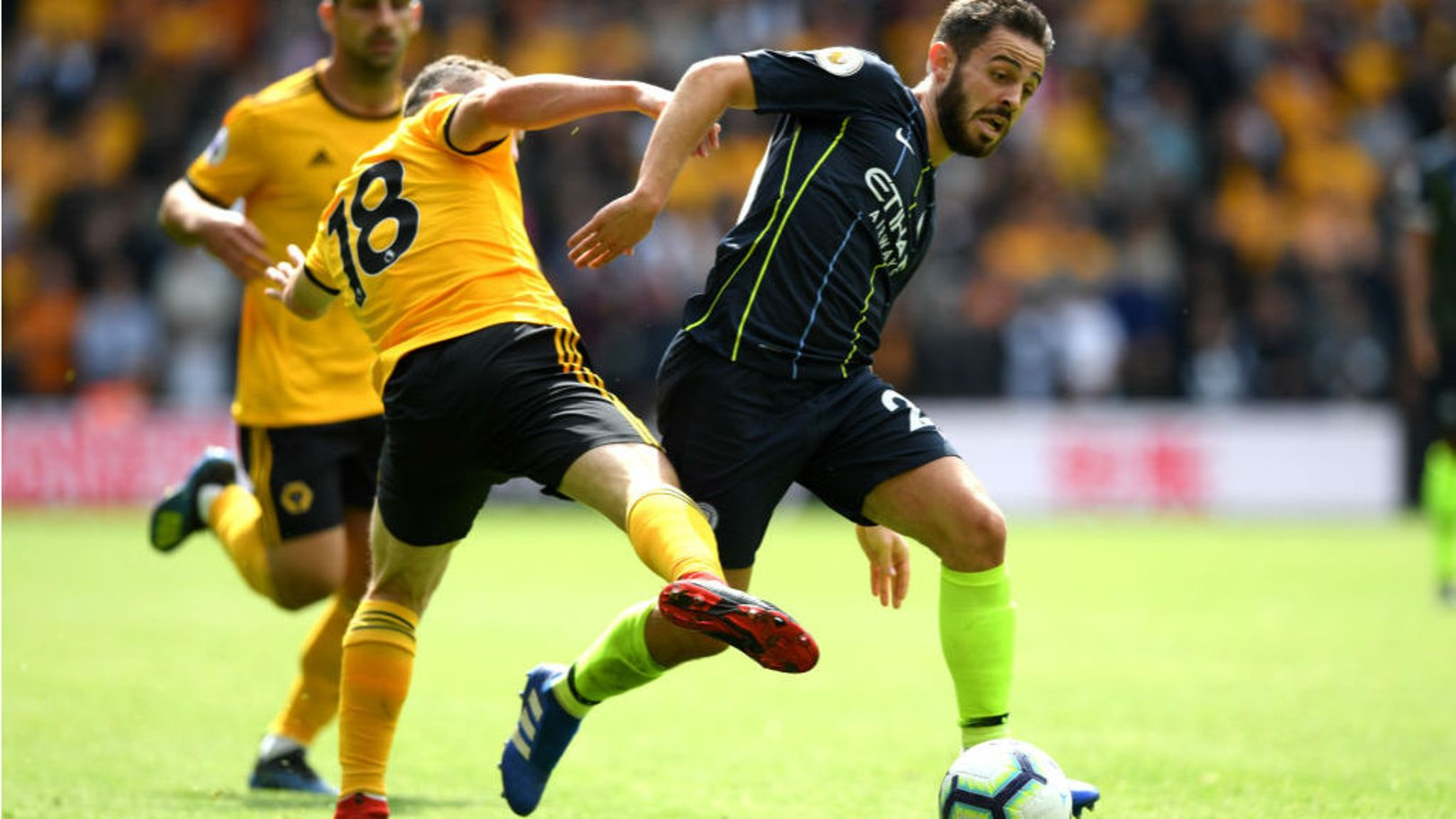 ROUGH JUSTICE: Bernardo Silva is brought down just outside the box