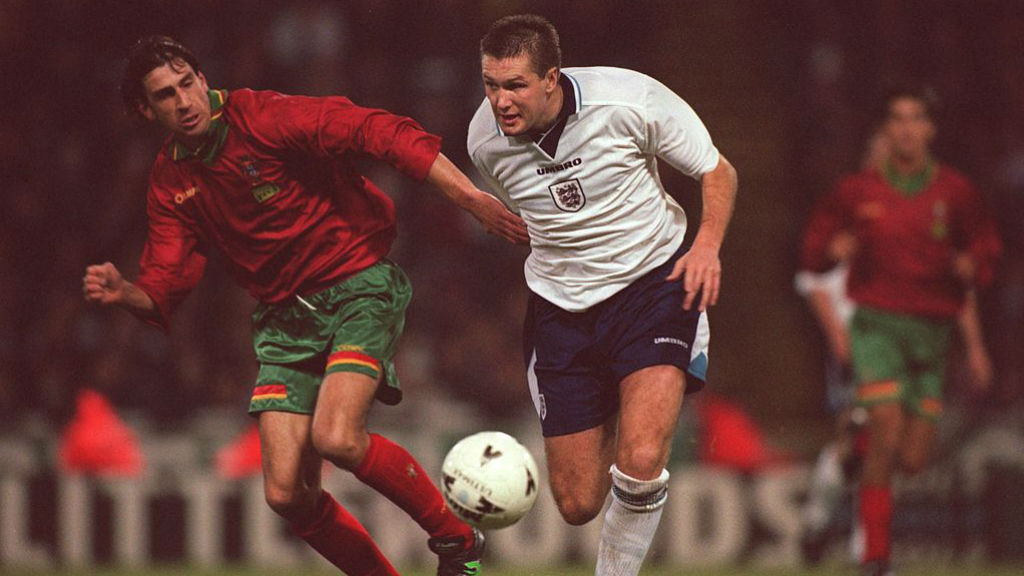 NATIONAL SERVICE: Steve Howey in action for England against Portugal