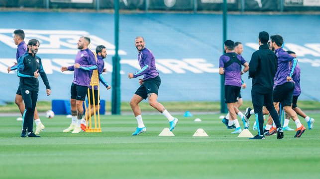 ALL TOGETHER NOW : The lads are put through their paces