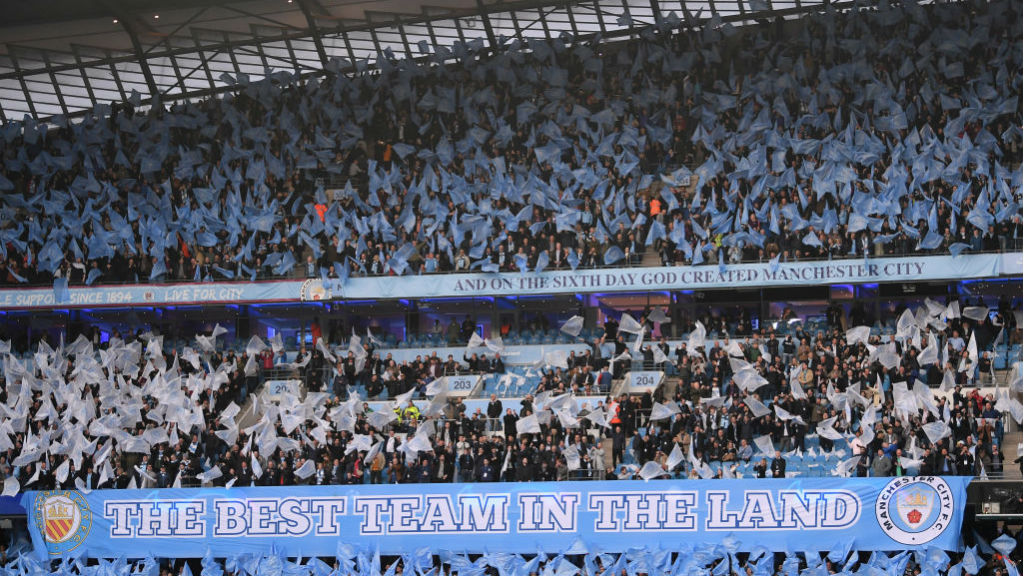 BLUE HEAVEN : The Etihad was a sea of colour ahead of kick-off