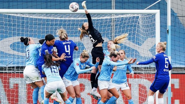 HONOURS EVEN: The battle between the top two in the WSL ends all square, as league leaders Chelsea hold on for a 2-2 draw