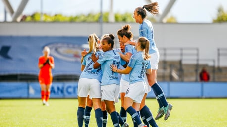 TOGETHER: The congratulate the skipper on her wonderstrike