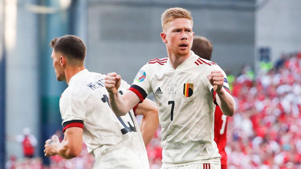 ASSIST KING: KDB celebrates after Belgium's leveller