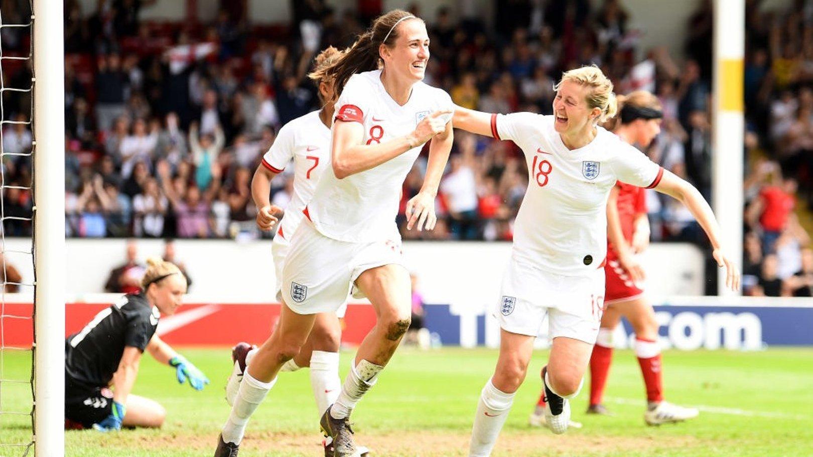 GOAL: Jill Scott celebrates scoring in World Cup warm-up game against Denmark.
