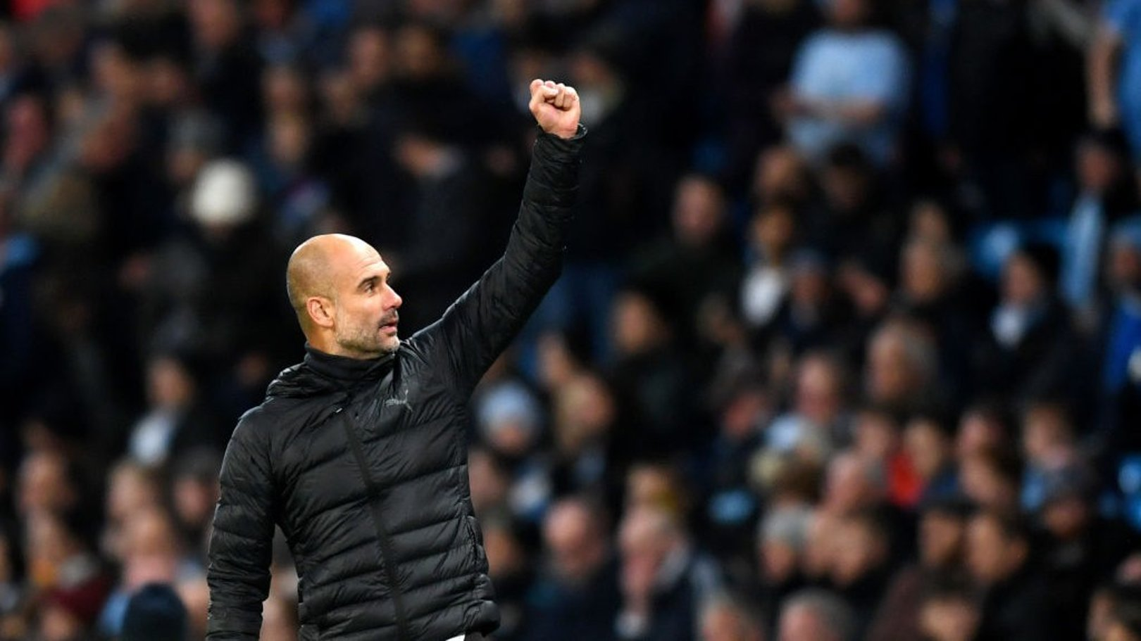 DELIGHT: Pep Guardiola acknowledges the crowd after City's 2-1 win over Southampton.