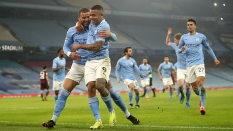 ALL TOGETHER NOW: The team go over to congratulate Gabriel Jesus