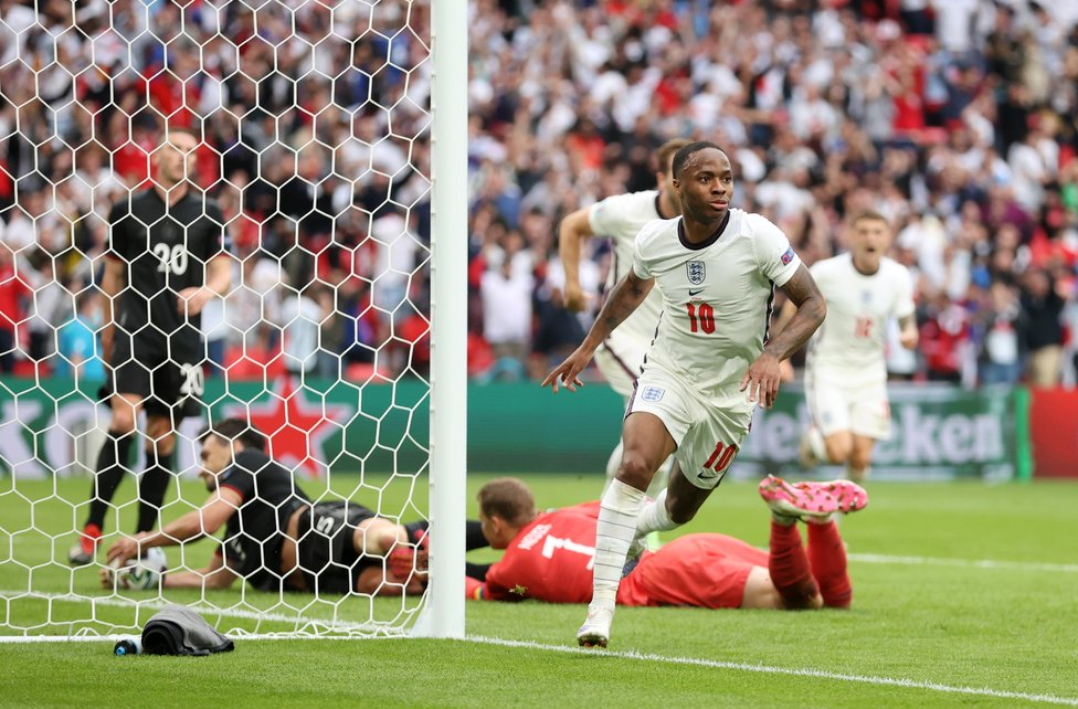 RAZZ-MATAZZ! : Yet another glorious goal for Raheem Sterling - this one the opener in a much-celebrated win over Germany!