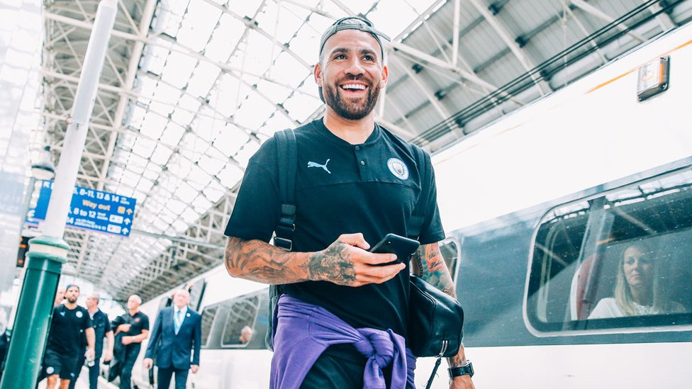 GENERAL ORDERS : Nicolas Otamendi looks thrilled to be back in the thick of things having returned to training earlier this week
