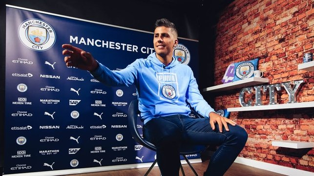 ON POINT : Rodri gestures as he prepares for his City TV interview