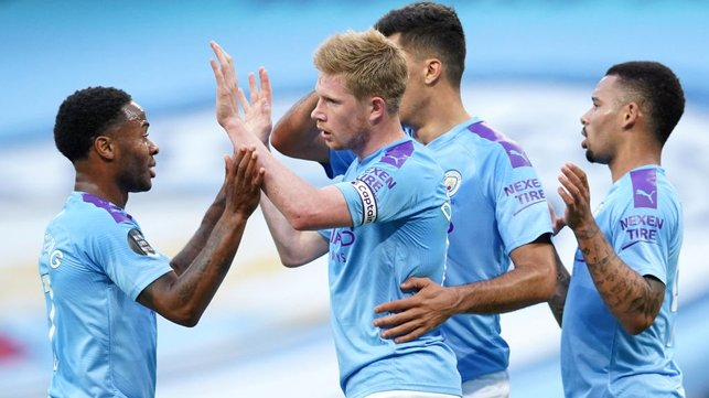 CENTRE OF ATTENTION : De Bruyne is congratulated after netting the opener.
