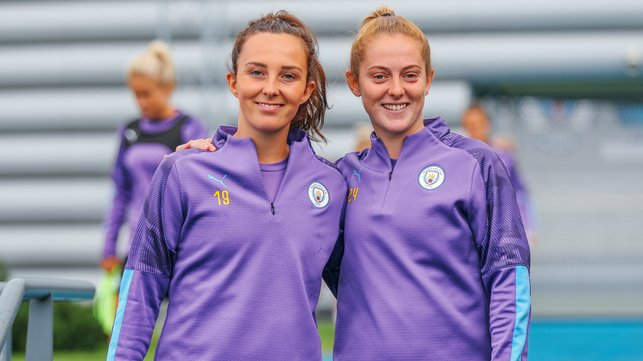 GOOD TO BE BACK : All smiles for Caroline Weir and Keira Walsh