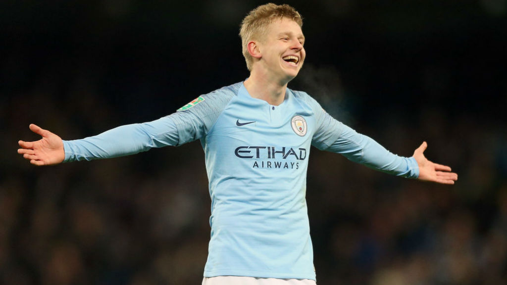 HOW ABOUT THAT? Oleksandr Zinchenko is all smiles after his stunning goal in the first leg