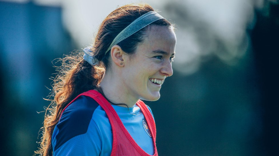 WELCOME TO CITY! Rose Lavelle was clearly delighted to link up with her new team mates