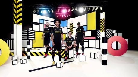 SQUAD GOALS: Sergio Aguero, Leroy Sane, David Silva and Benjamin Mendy sport our new 2019-20 PUMA away kit