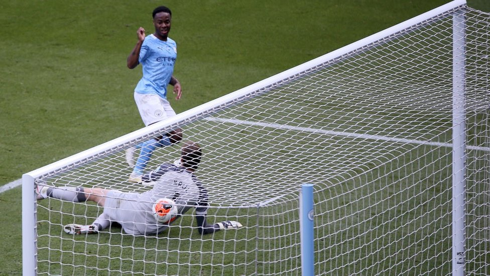 20 UP : Sterling finds the net to take his league tally to 20 this season.