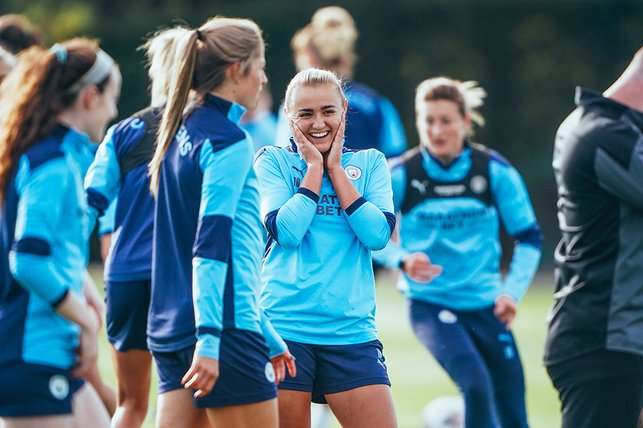 THE EXTRA SMILE : No doubt Georgia Stanway is up to mischief...