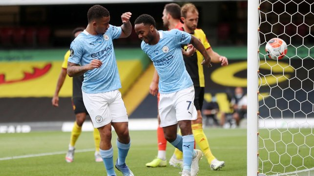 PRAYERS ANSWERED : Jesus celebrates with Sterling after the good fortune involved in his second goal.