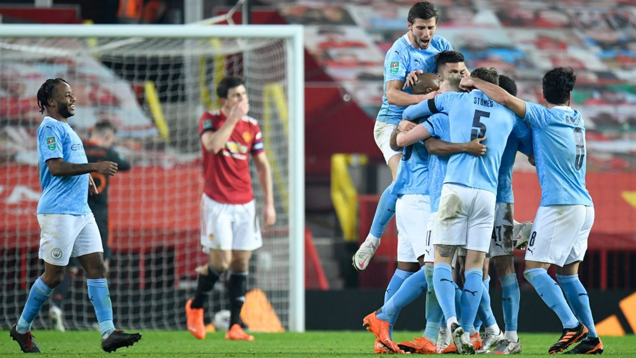 FERNATASTIC: Fernandinho is mobbed by his teammates
