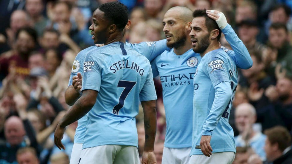HALF A TON : Silva celebrates hitting his 50th City goal during our win over Fulham