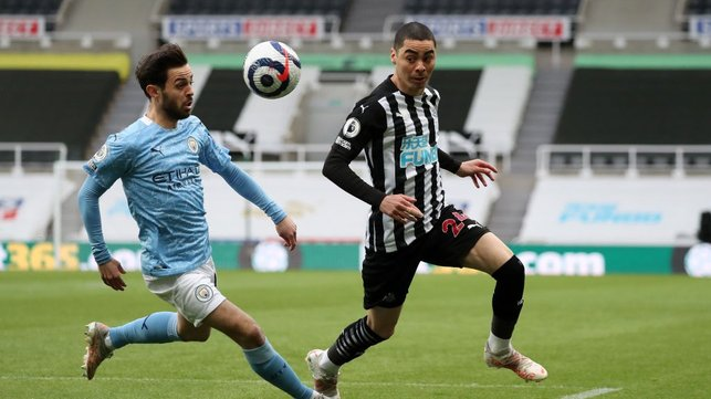 PACE TO BERN: Bernardo Silva tussles for possession with Miguel Almiron