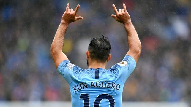 SERGIO SALUTE : Aguero celebrates a goal on his 300th appearance