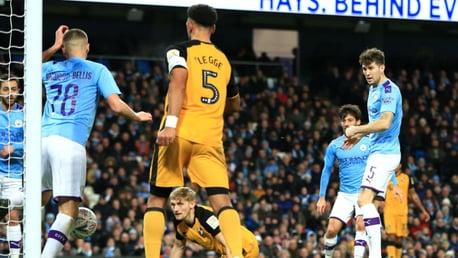THREE CHEERS: Taylor Harwood-Bellis deflects home John Stones' shot for City's third goal