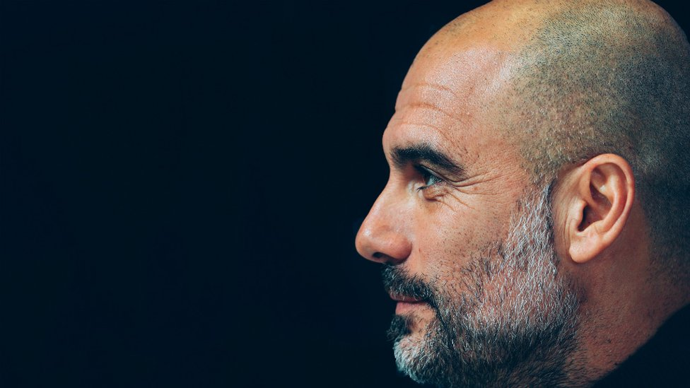 DEEP IN THOUGHT : Pep Guardiola.