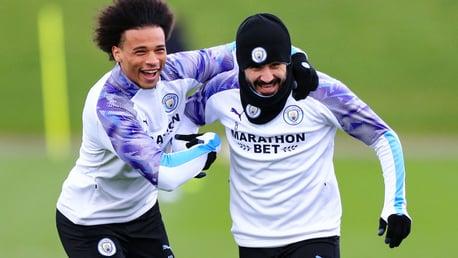 Leroy Sane and Ilkay Gundogan enjoying themselves in Manchester City training.