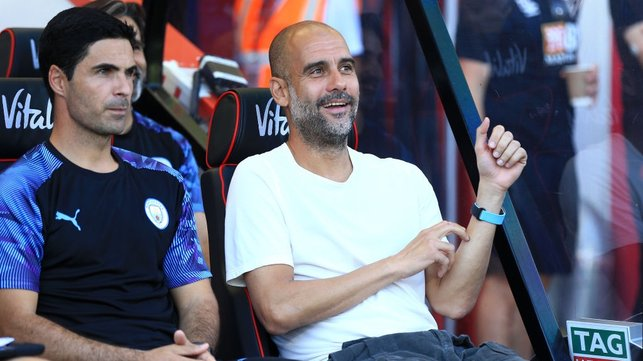 A WELCOME OPPONENT : Pep has now won all seven times that he's faced Bournemouth, making them his joint-favourite English opponent.