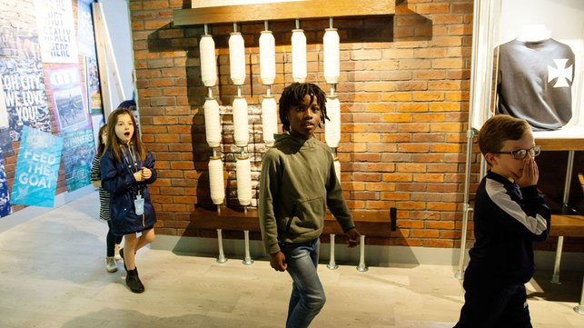 WOW FACTOR : Young Fans enter the new exhibition space on the Manchester City tour for the first time