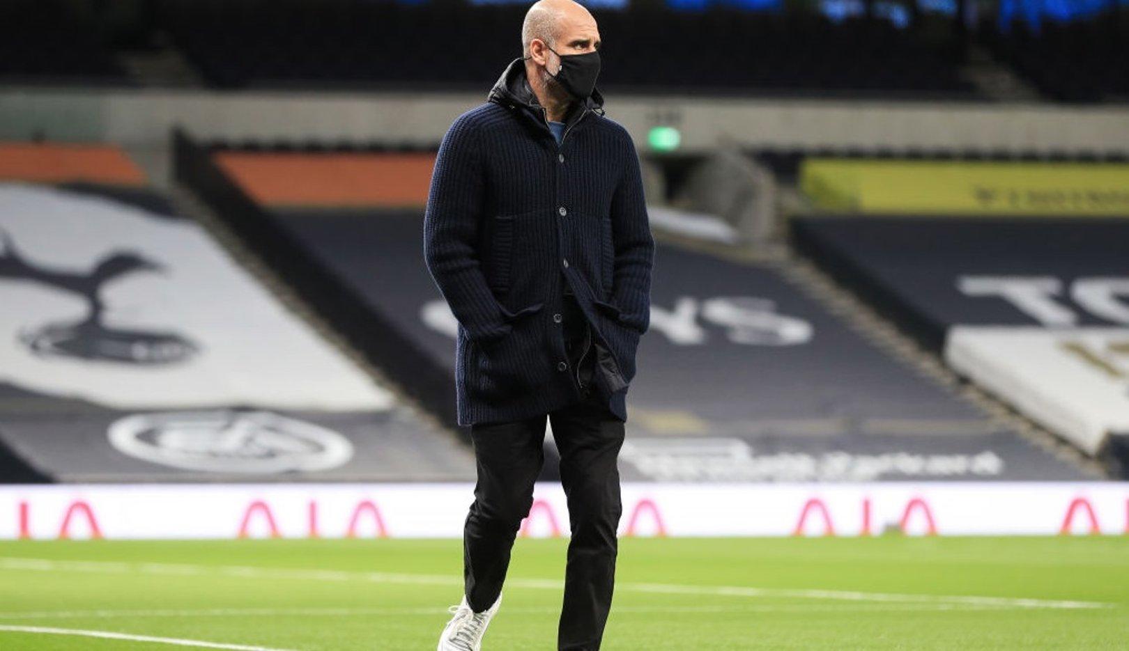 Pep Guardiola arrives at the Tottenham Hotspur Stadium