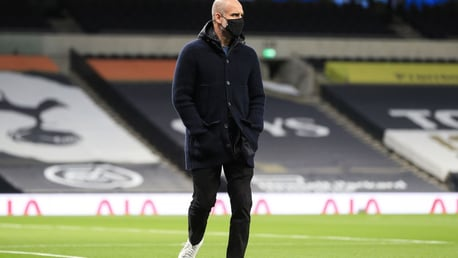 Pep Guardiola arrives at the Tottenham Hotspur Stadium