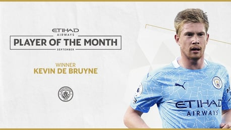 De Bruyne voted Etihad Player of the Month