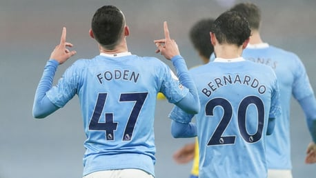 ONE OF OUR OWN: Foden celebrates his goal.