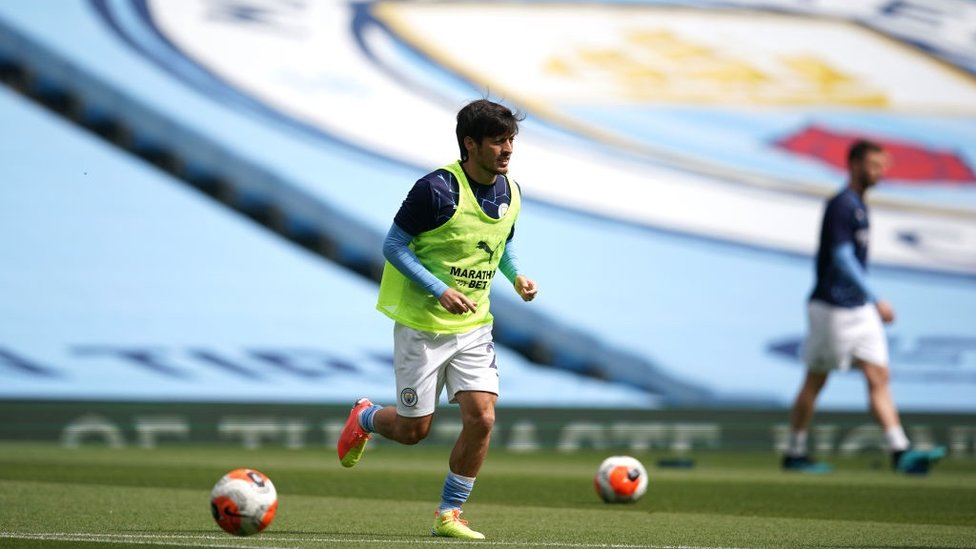 ONE LAST TIME : Skipper David Silva warms up ahead of his final Premier League match for City.