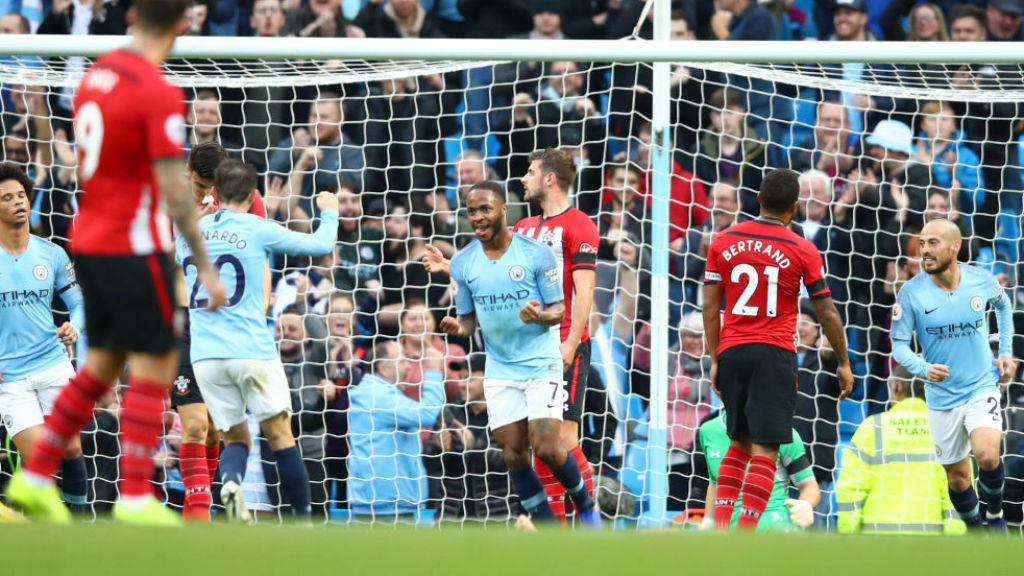 STERLING WORK : Raheem Sterling celebrates after scoring our fourth goal on the stroke of half-time