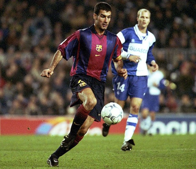MOVING ON : Guardiola departs his beloved Barca to join Serie A side, Roma in 2002