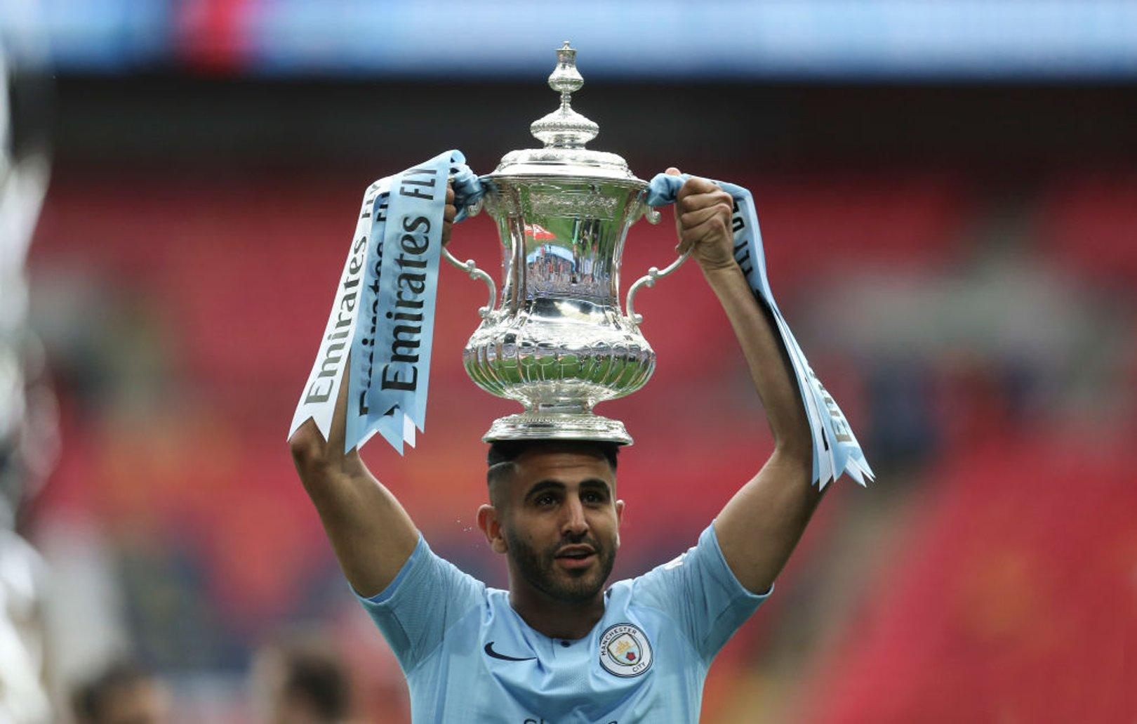 Riyad Mahrez Man City FA Cup trophy